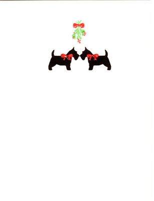 Scotties and Mistletoe Card