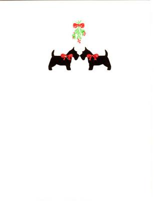 Scotties and Mistletoe Card