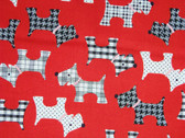 """Whiskers and Tails"" Scottie Fabric in Red"