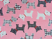 """Whiskers and Tails"" Scottie Fabric in Pink"