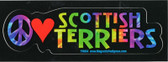 Peace, Love Scottish Terriers Decal