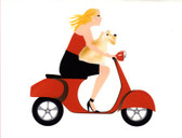 Vespa Girl with Wheaten Scottie Cards