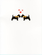 Glittered Hearts and Bows Scottie Card