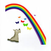 Wheaten Scottie with Butterflies and Rainbow Card