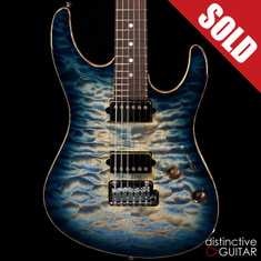 Suhr Modern Carve Top Custom Faded Trans Whale Blue Burst JS3A0T