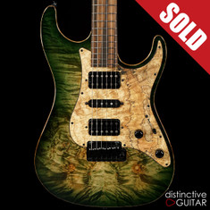 Suhr Standard Custom Waterfall Burl Maple Top Faded Trans Green Burst JS4U6P