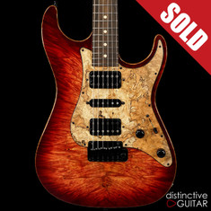 Suhr Standard Custom Waterfall Burl Maple Top Trans Wine Red Burst JS9X9Z