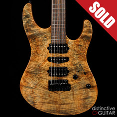 Suhr Modern Custom Trans Blue Denim Waterfall Burl Maple JS2W1A