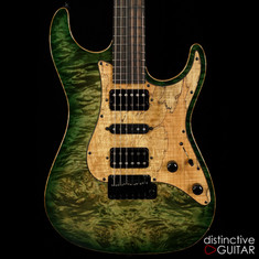 Suhr Standard Custom Waterfall Burl Faded Trans Green Burst JS0X2U