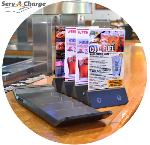 Use these table tent menu holders on your bar top, table top or anywhere else your customers like to charge their phone.