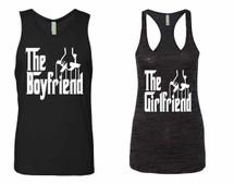 The boyfriend Jersey The girlfriend Burnout Tank Top couples gift shirts