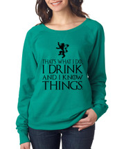 Tyrion Lannister That's What I Do I Drink And Know Things Women TriBlend Long Sleeve Scoop