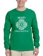 Men's Long Sleeve Irish Firefighter St Patrick's Patry Irish Tee