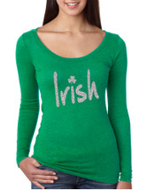 Women's Shirt Irish Glitter Silver Shamrock St Patrick's Shirt