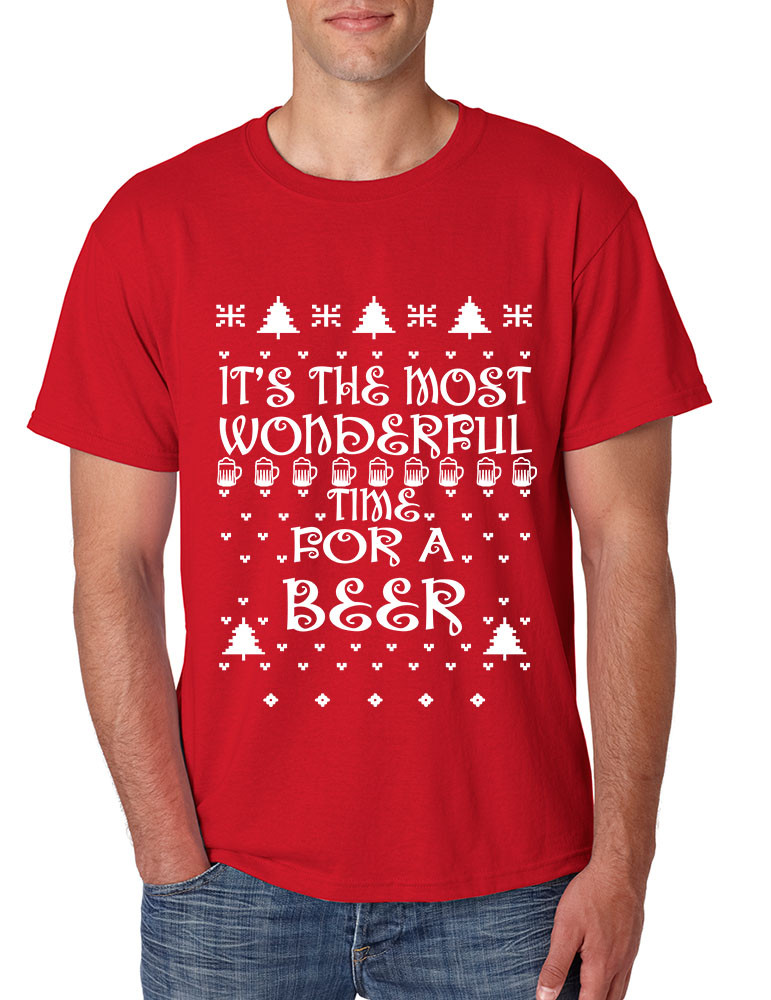 a6894a89c Men's T Shirt It's Most Wonderful Time for Beer Ugly Sweater Xmas. Price:  $10.94. Image 1. Larger / More Photos