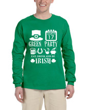 Men's Long Sleeve Green Party St Patrick's Day Shirt Drunk Top