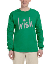 Men's Long Sleeve Irish Glitter Silver Shamrock St Patrick's