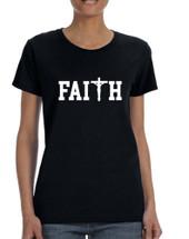 Women's T Shirt Faith Print Cross Love Christian Shirt