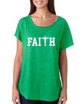 Women's Dolman Faith Print Cross Love Christian Top