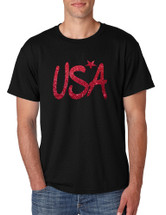 Men's T Shirt USA Red Glitter Love America 4th Of July Shirt