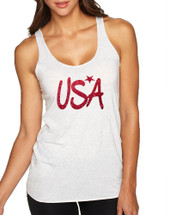 Women's Tank Top USA Red Glitter Love America 4th Of July Top