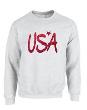 Adult Sweatshirt USA Red Glitter Love America 4th Of July Top