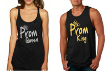 Couple Tank Top Prom Queen King Gold Silver Cool Prom Tops