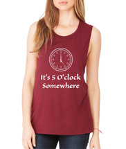 Women's Flowy Muscle Top It's 5 O'clock Somewhere Party Top