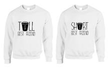 Set Of 2 Sweatshirts Tall Short Best Friend Coffee Matching Tops