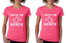 Set Of 2 Women's T Shirt She's My Bestie Best Friend Matching Tees