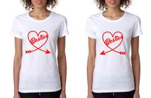 Set Of 2 Women's T Shirt Besties Heart BFF Matching Tees Gift