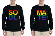Set Of 2 Men's Long Sleeve Soul Mate Couple Gay Pride Shirts
