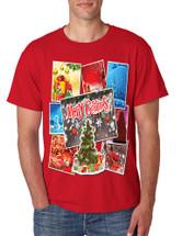 Men's T Shirt Merry Christmas Postcards Holiday Graphic Tshirt