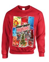 Adult Sweatshirt Christmas Postcards Holiday Graphic Gift Idea