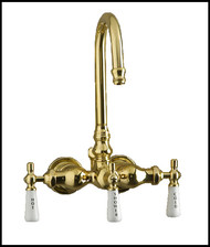 Brass Clawfoot Tub Diverter Faucet - Gooseneck Spout - Barclay