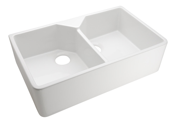 Barclay Kitchen Apron Front Farm Sink Double Bowl in White 31.5\