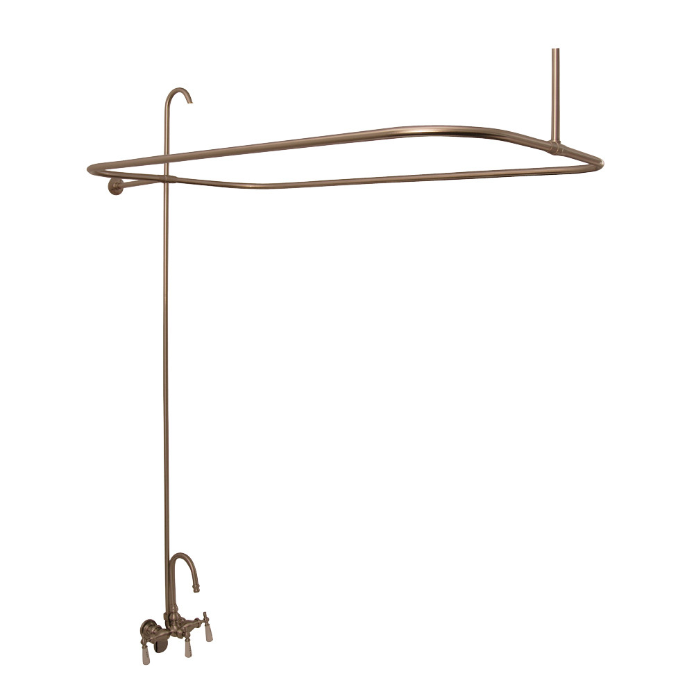 Complete Clawfoot Tub Shower Kit With Faucet Rod Supply Lines