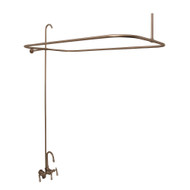 Complete Clawfoot Tub Shower Kit with Faucet, Rod, Supply Lines, & Drain - Brass