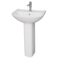 "Barclay Lara 510 Pedestal Sink, 8"" Widespread, White Finish"