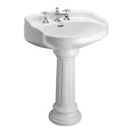 "Barclay Vicki Pedestal Sink, 8"" Widespread, White Finish"