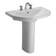 "Barclay Jumeirah Pedestal Sink, 8"" Widespread, White Finish"