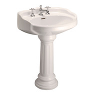 "Barclay Victoria Pedestal Sink, 8"" Widespread, Bisque Finish"