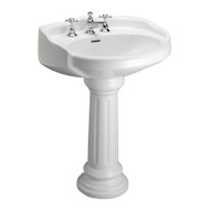 "Barclay Victoria Pedestal Sink, 8"" Widespread, White Finish"