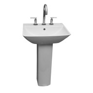 "Barclay Summit 600 Pedestal Sink, 8"" Widespread, White Finish"