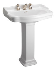 "Barclay StanFord 550 Pedestal Sink, 4"" Centerset Faucet, White Finish"