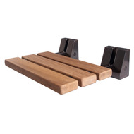 """16"""" Teak Wall Mount Slatted Shower Seat with Oil Rubbed Bronze Trim"""
