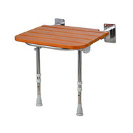 """19"""" Teak Wall Mount Folding Slatted Shower Seat with Stainless Steel Legs"""