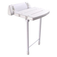 "14"" Wall Mount Slatted Plastic Folding Shower Seat with Legs in White"