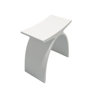 "16"" Modern Resin Shower Stool in Matte White"