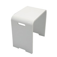 "15"" Modern Resin Shower Stool in Matte White"
